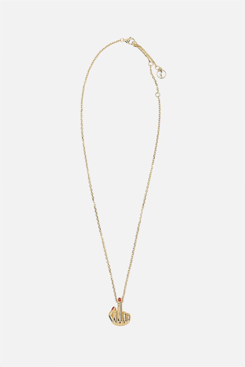 ANISSA KERMICHE: French for Goodnight 24k gold-plated silver necklace Color Silver_1