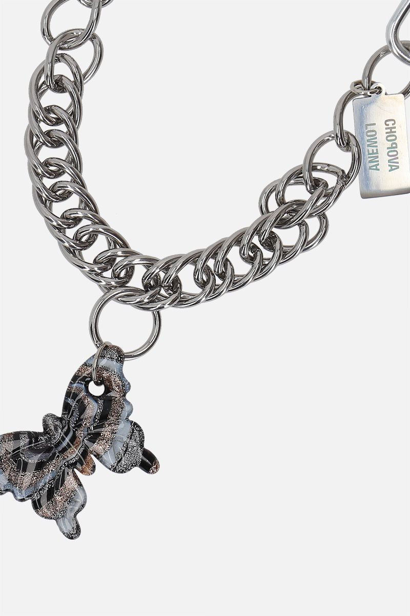 CHOPOVA LOWENA: Spiral Butterfly steel and glass chain necklace Color Silver_2
