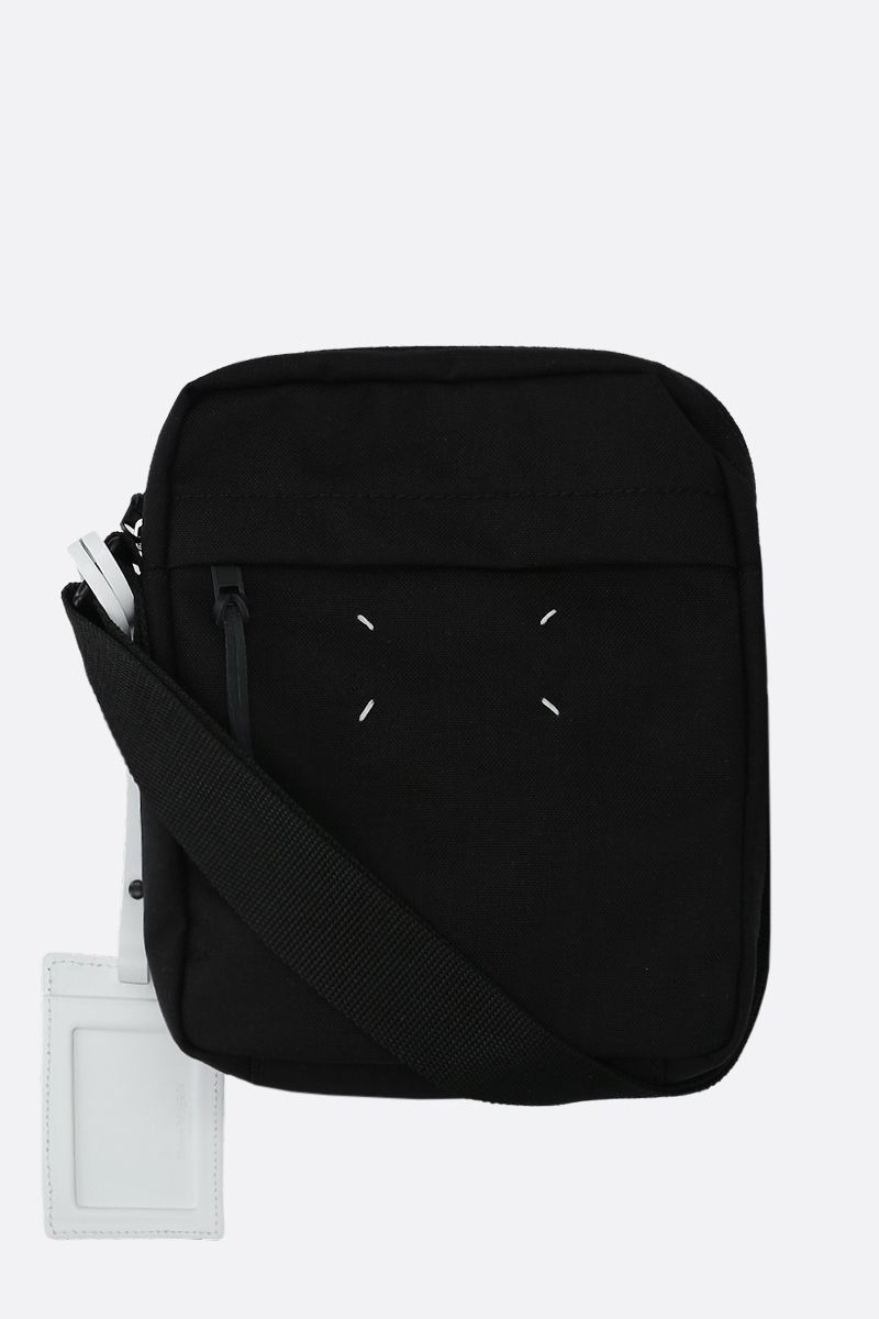 MAISON MARGIELA: borsa a tracolla in nylon con porta badge Colore Nero_1