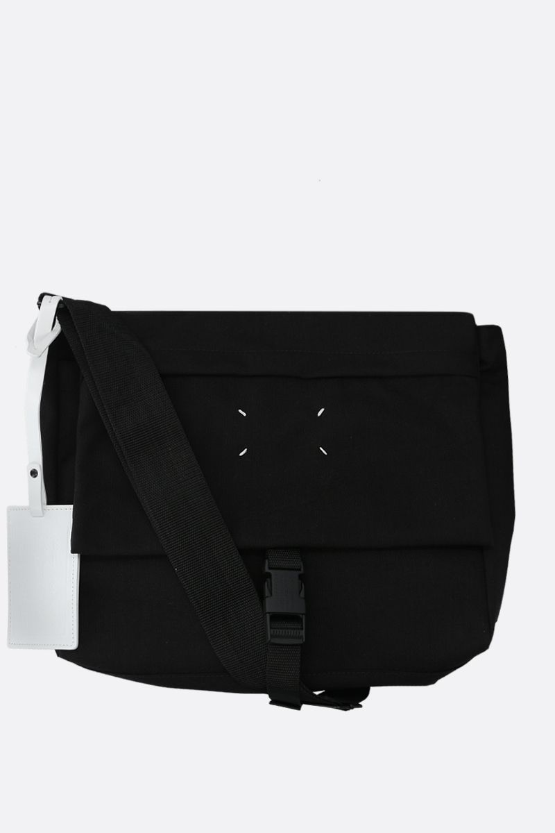 MAISON MARGIELA: borsa messenger in nylon con porta badge Colore Nero_1