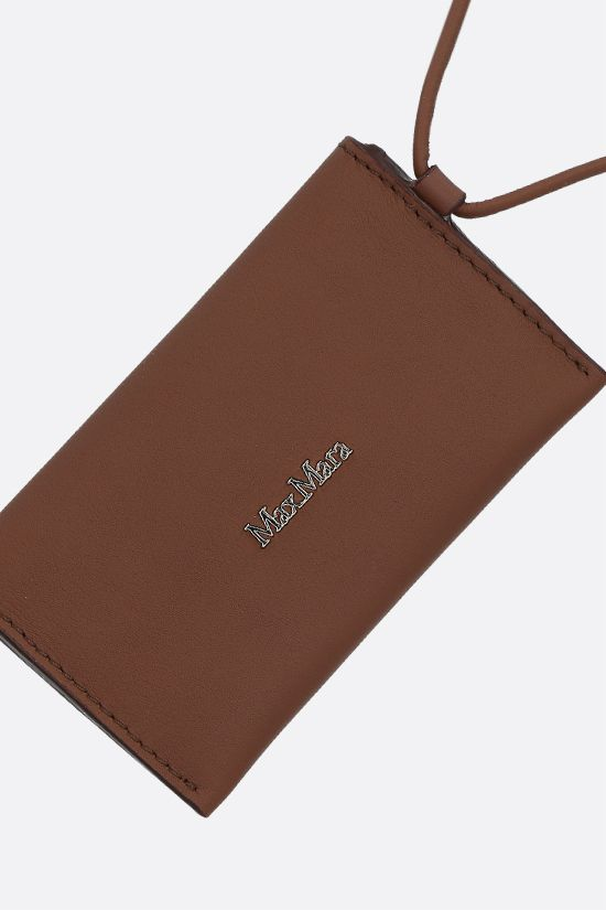 MAX MARA: Dula smooth leather card case with strap Color Brown_2
