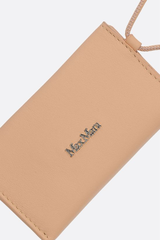 MAX MARA: Dula smooth leather card case with strap Color Orange_2