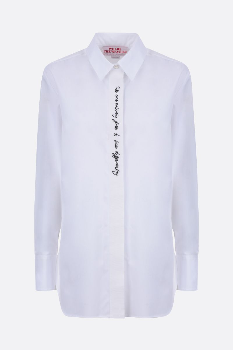 STELLA McCARTNEY: embroidered ribbon-detailed cotton shirt Color White_1