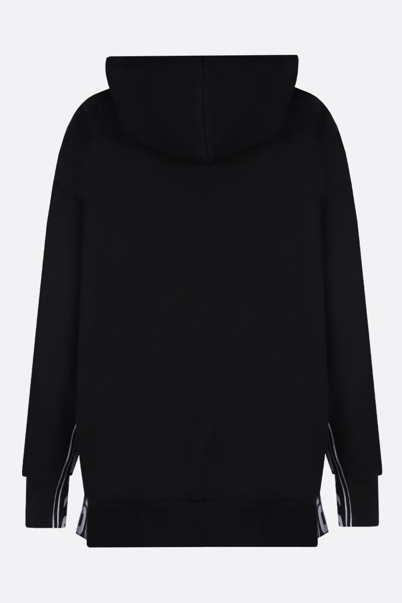 STELLA McCARTNEY: felpa oversize in cotone con bande 23 Old Bond St. London Colore Nero_2