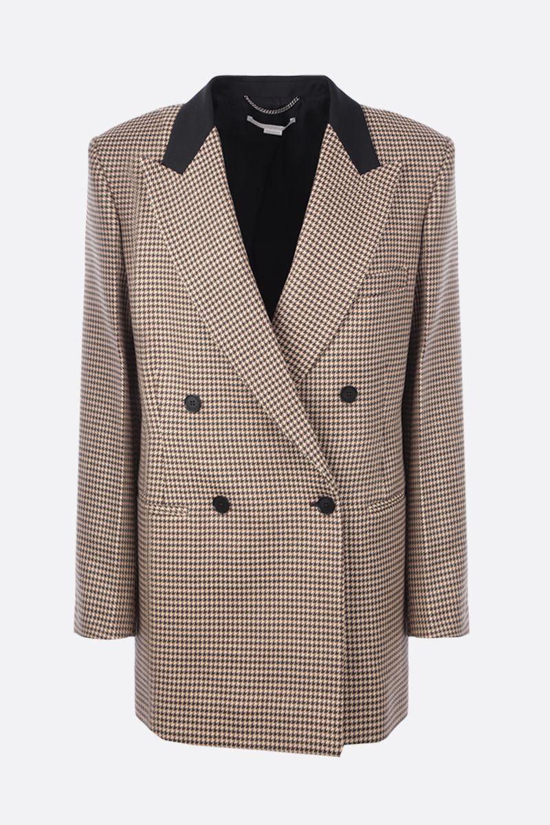STELLA McCARTNEY: Meya double-breasted houndstooth wool jacket Color Brown_1