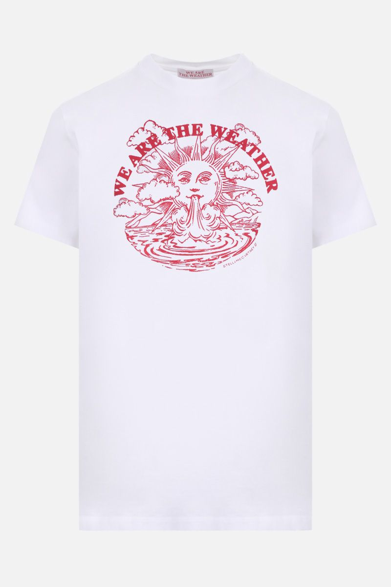 STELLA McCARTNEY: t-shirt in cotone stampa We are the weather Colore Bianco_1