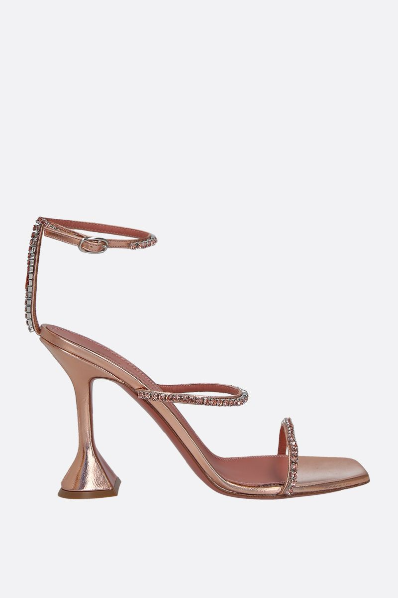 AMINA MUADDI: Gilda laminated leather sandals Color Orange_1