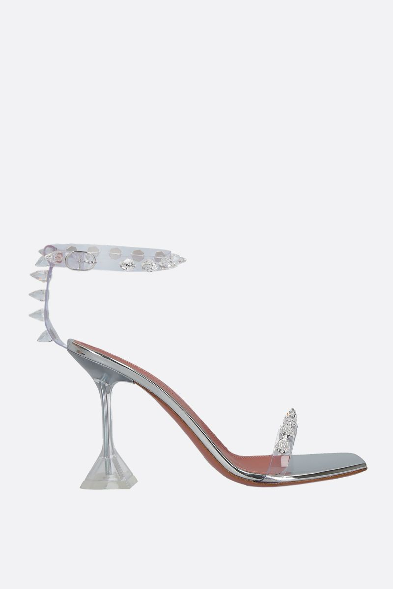 AMINA MUADDI: Julia crystal-embellished PVC sandals Color Neutral_1