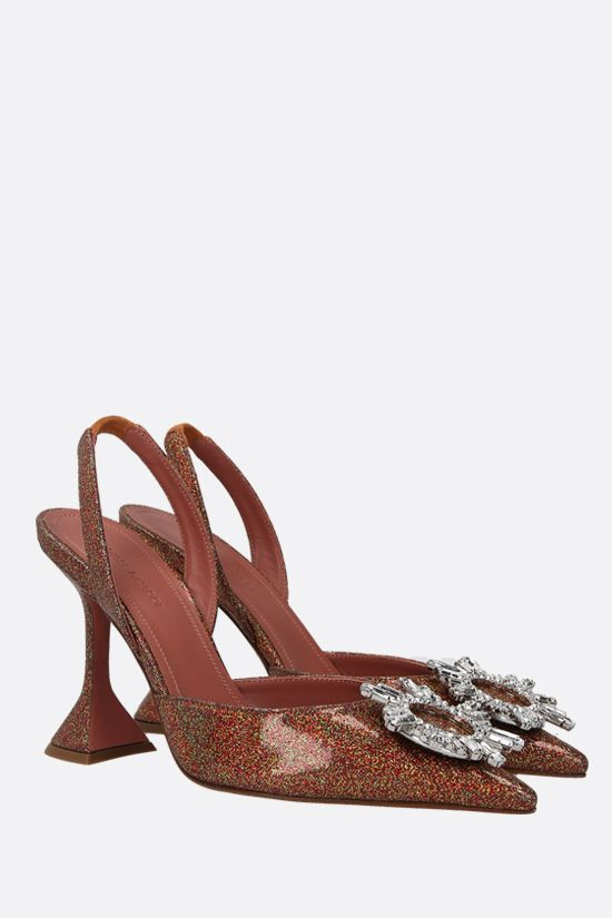 AMINA MUADDI: Begum glitter fabric slingbacks Color Orange_2
