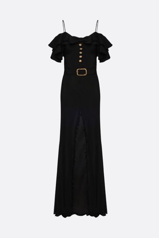 ALESSANDRA RICH: silk long dress with central slit Color Black_1