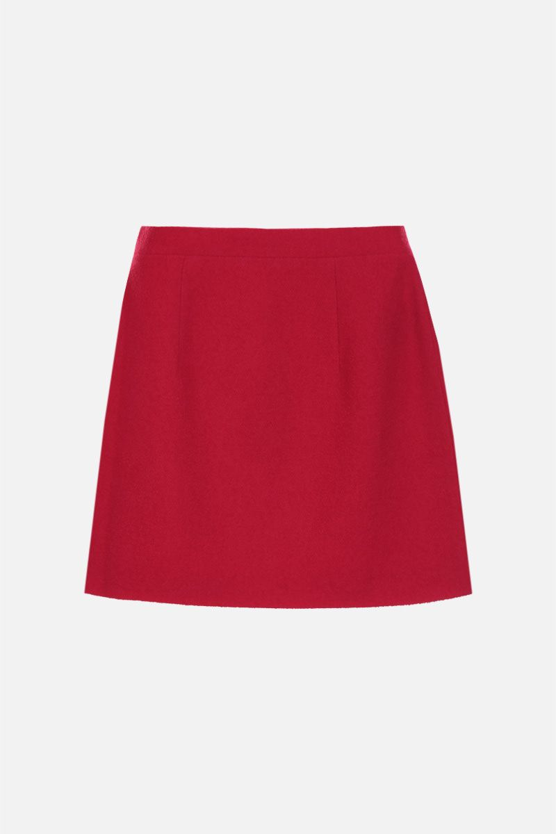 ALESSANDRA RICH: jewel button-detailed wool blend miniskirt Color Red_2