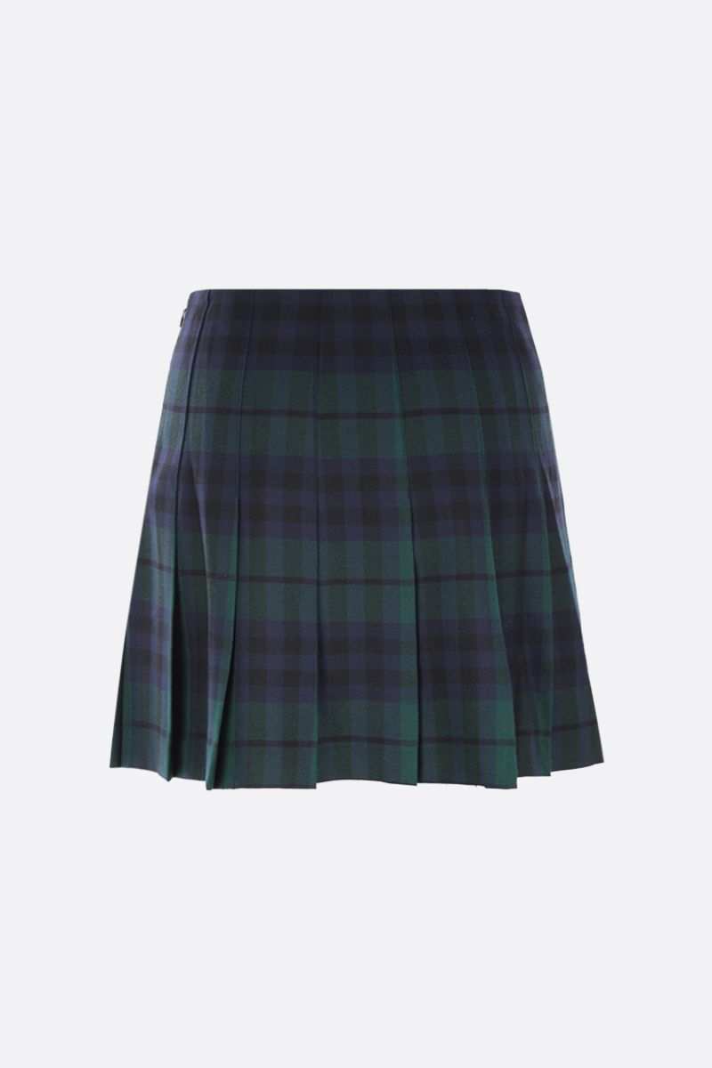 ALESSANDRA RICH: pleated check wool miniskirt Color Green_2
