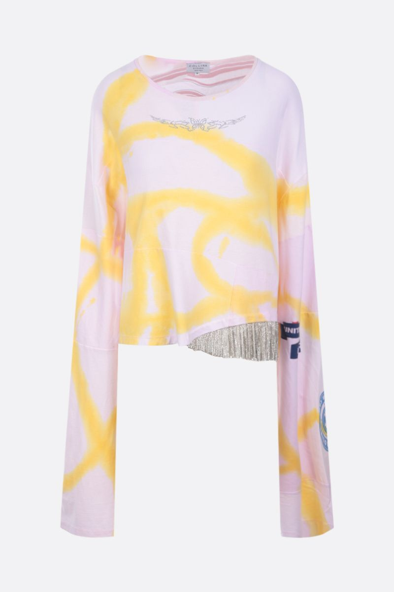 COLLINA STRADA: t-shirt oversize in cotone upcycled con strass Colore Pink_1