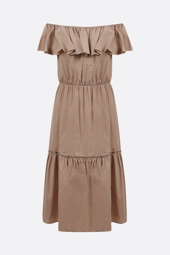 FEDERICA TOSI: cotton silk blend off-the-shoulder dress Color Brown_1