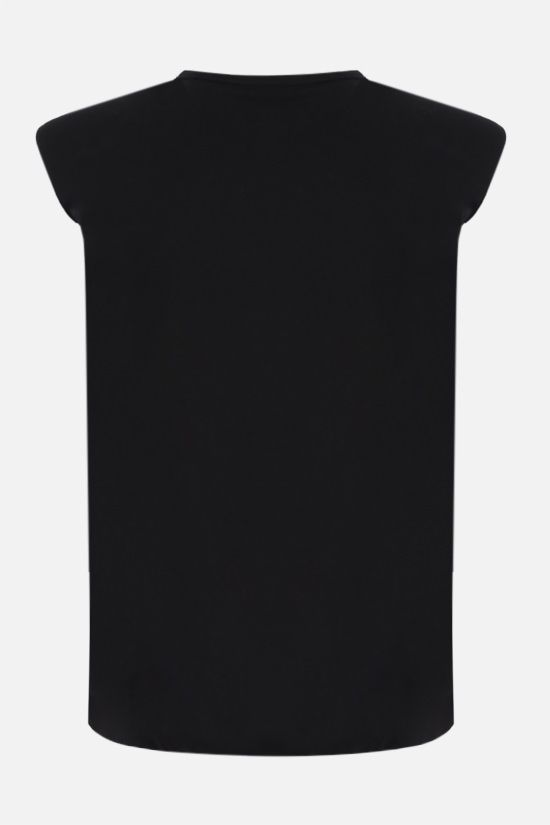 FEDERICA TOSI: shoulder pads sleeveless cotton t-shirt Color Black_2