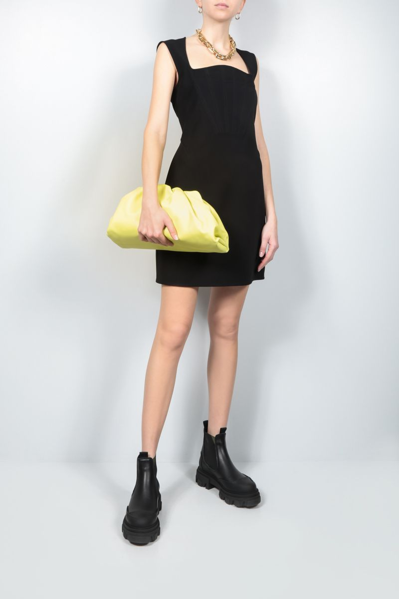BOTTEGA VENETA: technical silk short dress Color Black_2