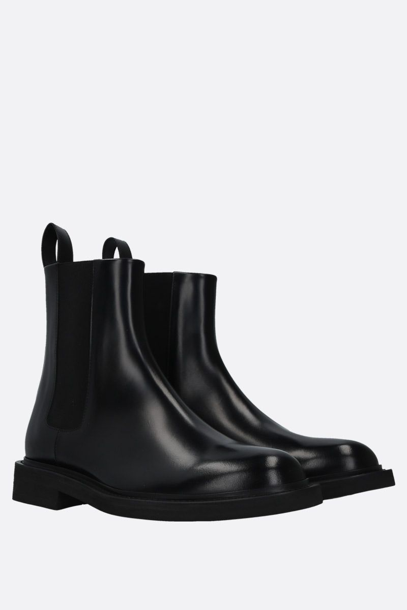 BOTTEGA VENETA: shiny leather chelsea boots Color Black_2