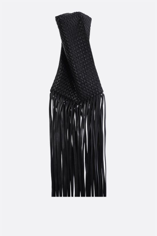 BOTTEGA VENETA: BV Fringe Crisscross clutch in padded Intrecciato nappa Color Black_2