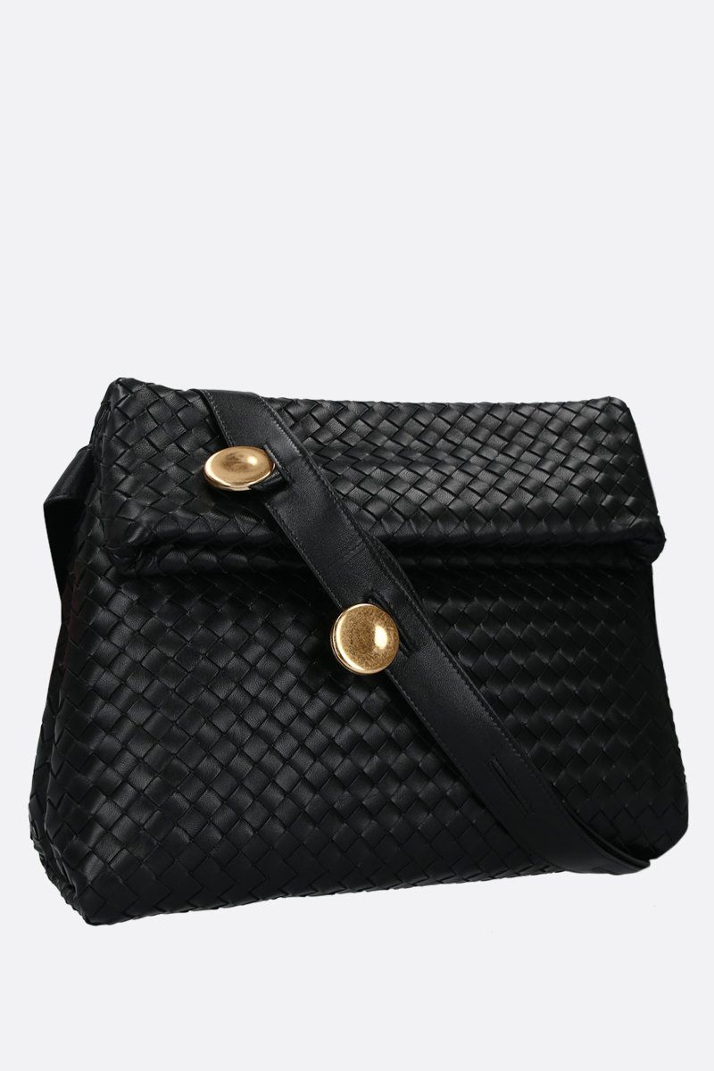 BOTTEGA VENETA: Intrecciato nappa crossbody bag Color Black_2