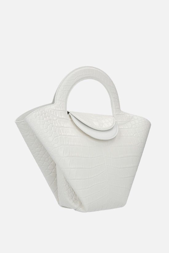 BOTTEGA VENETA: Skypper small croc-embossed leather tote bag Color White_2