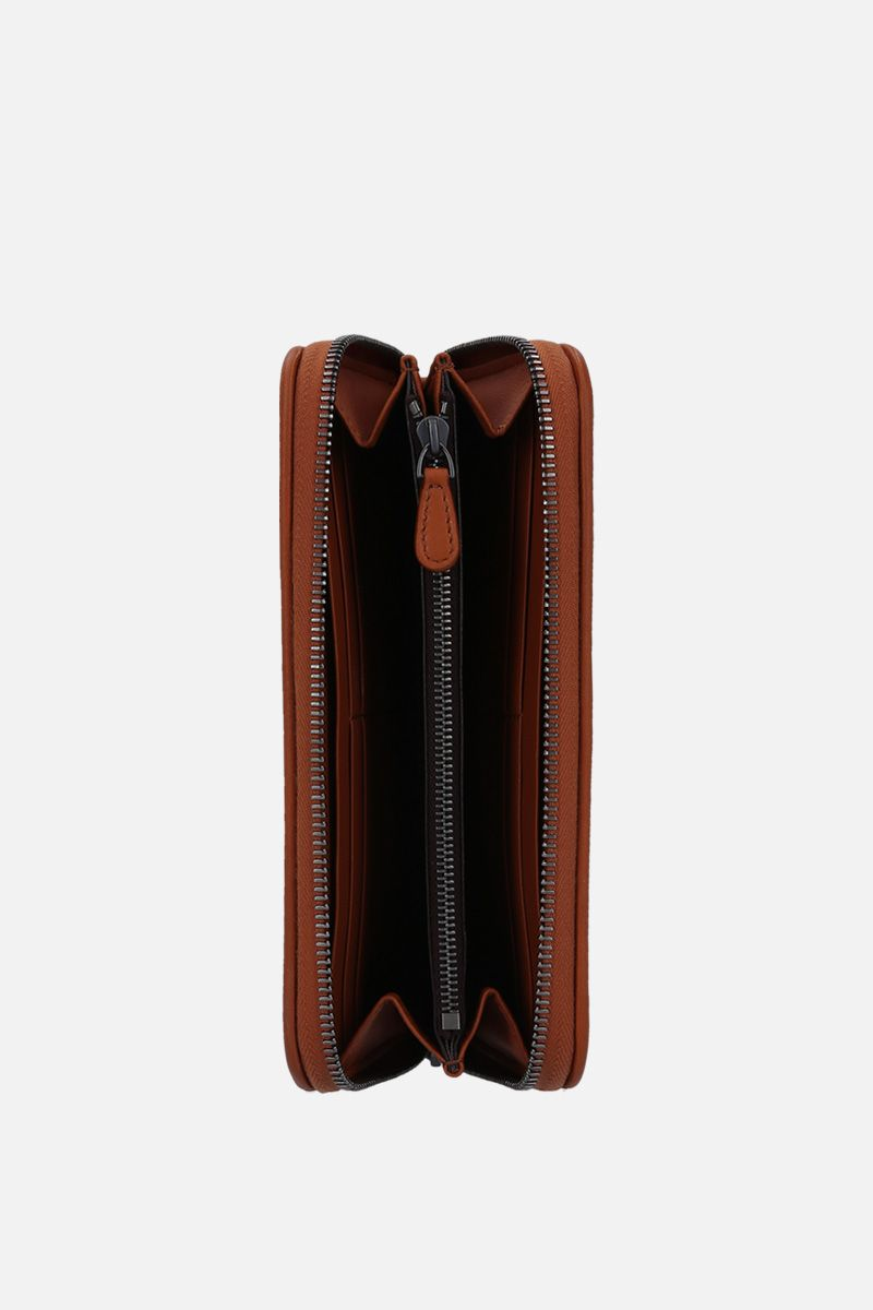BOTTEGA VENETA: zip-around wallet in Intrecciato nappa Color Brown_2