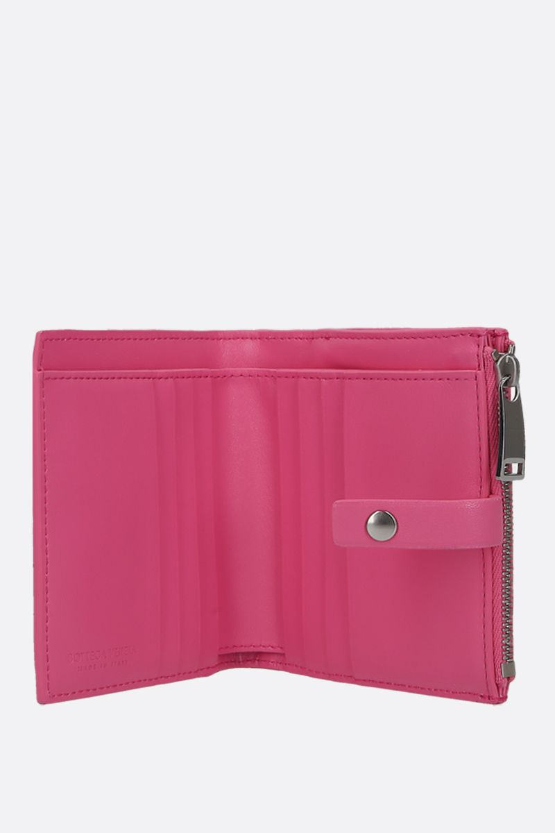 BOTTEGA VENETA: shiny Intrecciato mini wallet Color Pink_2