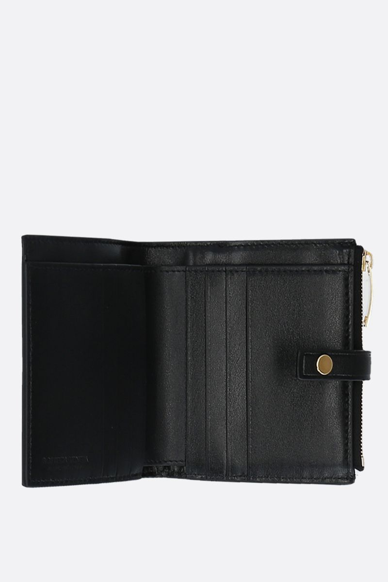 BOTTEGA VENETA: shiny Intrecciato mini wallet Color Black_2