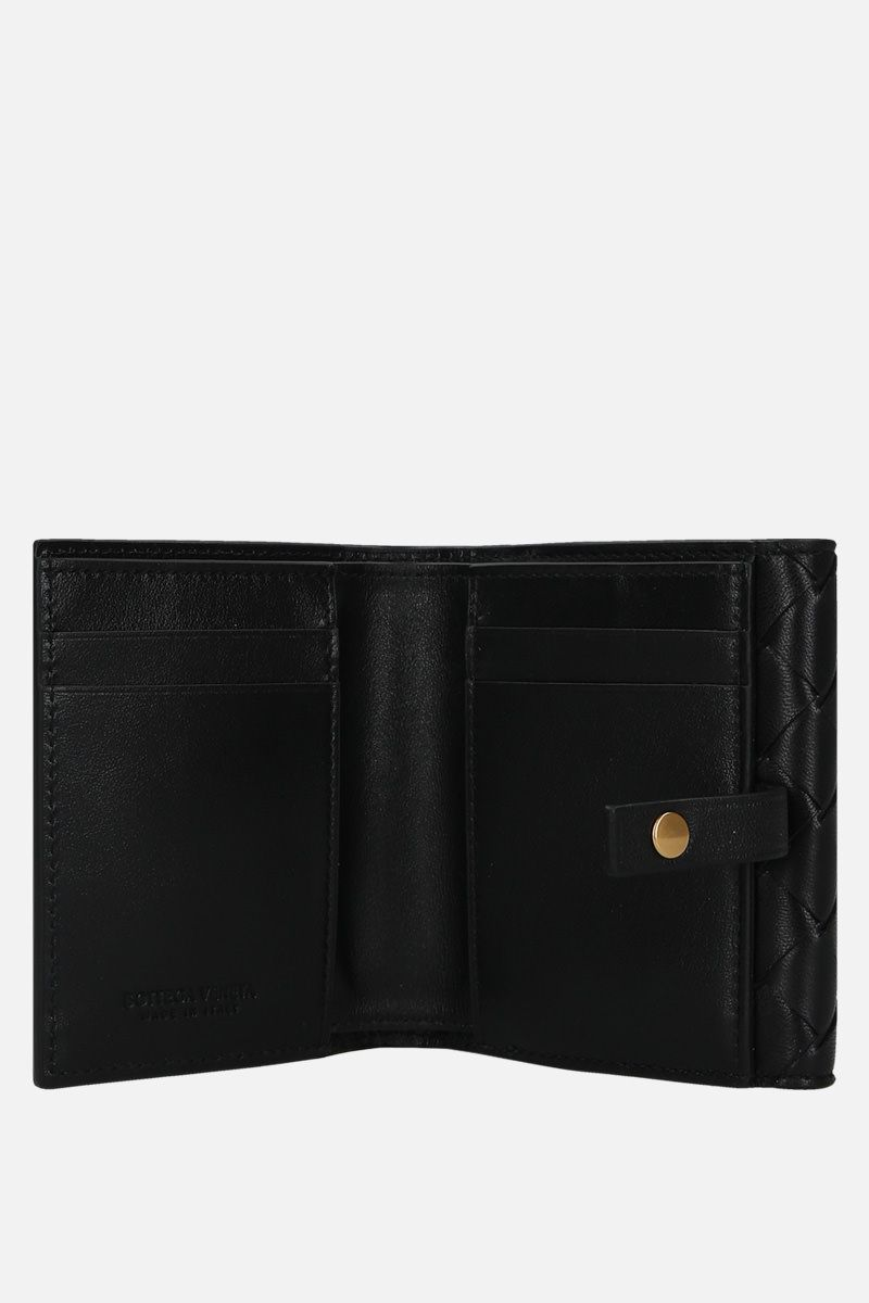 BOTTEGA VENETA: Intrecciato nappa small french wallet Color Black_2