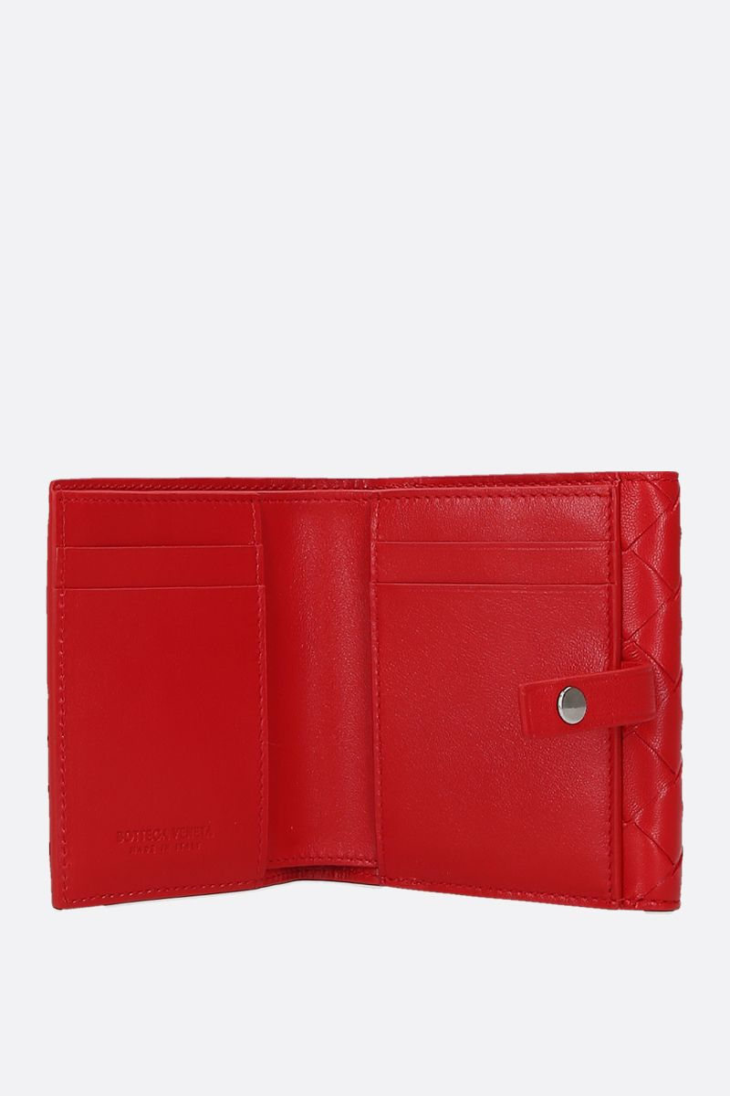 BOTTEGA VENETA: Intrecciato nappa small french wallet Color Red_2