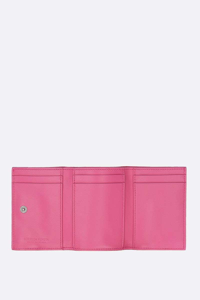 BOTTEGA VENETA: Intrecciato nappa mini tri-fold wallet Color Pink_2