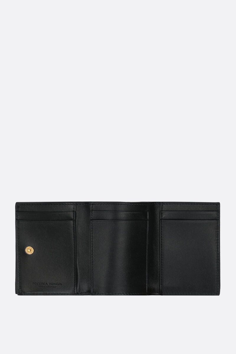 BOTTEGA VENETA: Intrecciato nappa mini tri-fold wallet Color Black_2