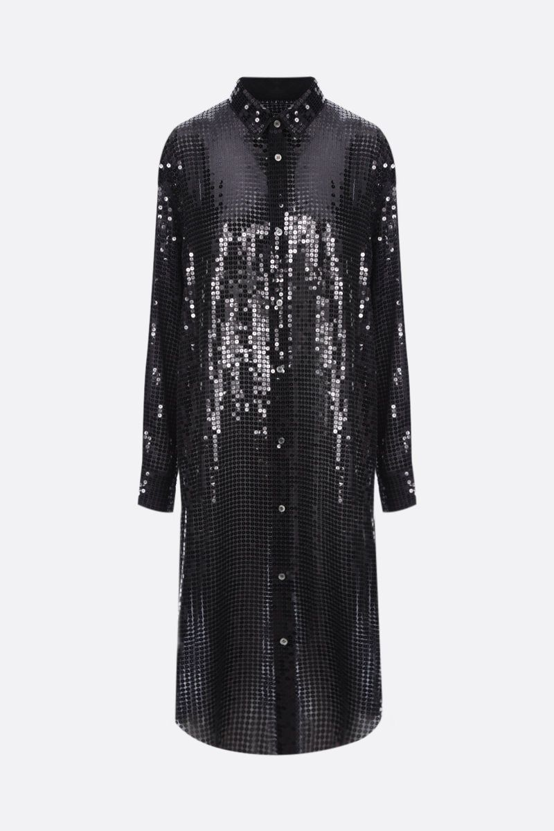 JUNYA WATANABE: abito chemisier in paillettes Colore Black_1