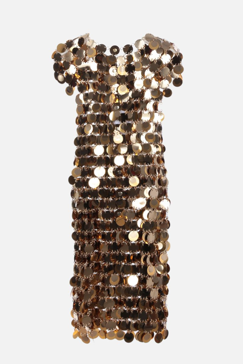 PACO RABANNE: sleeveless mirror-effect discs minidress Color Gold_2