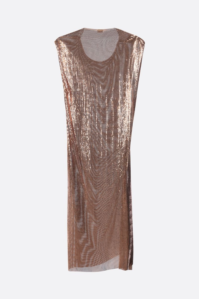 PACO RABANNE: metal mesh sleeveless dress Color Gold_2