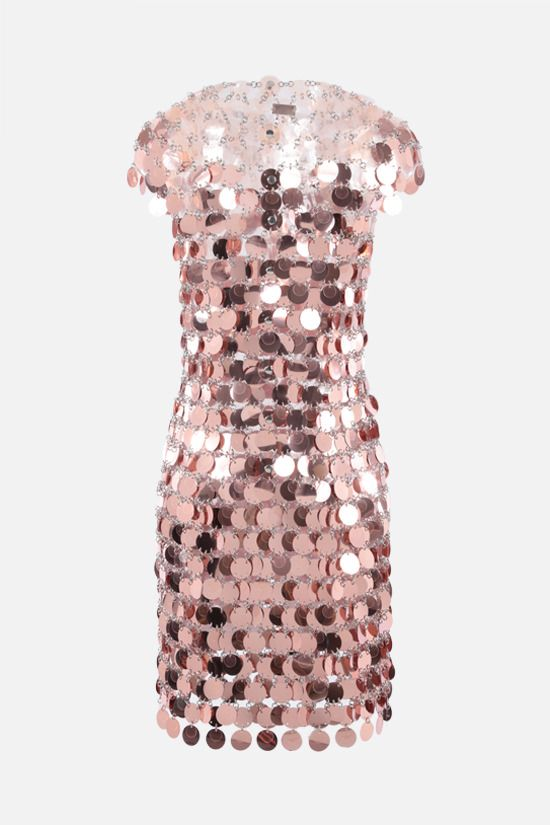 PACO RABANNE: Sparkle circular mirror-effect discs dress Color Pink_2