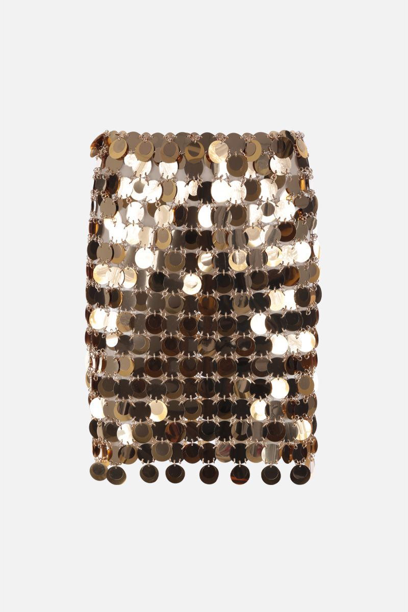 PACO RABANNE: circular mirror-effect discs mini skirt Color Gold_2