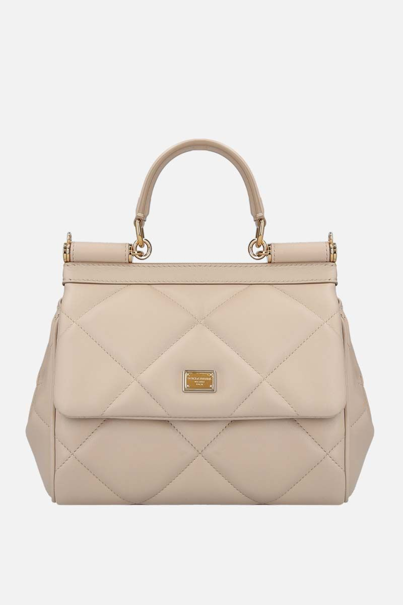 DOLCE & GABBANA: Sicily small quilted leather shoulder bag Color Neutral_1