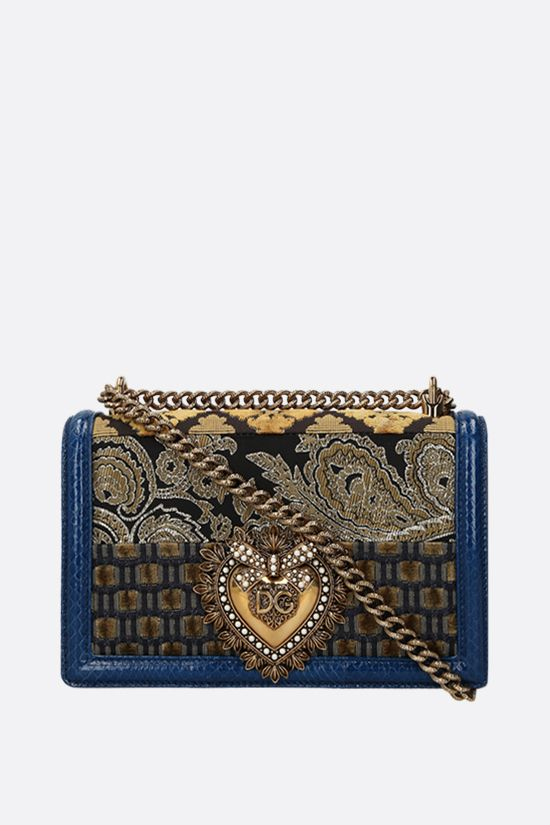 DOLCE & GABBANA: Devotionn medium shoulder bag in a fabric patchwork and snakeskin Color Blue_1
