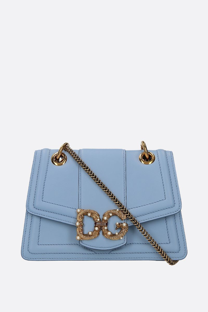 DOLCE & GABBANA: DG Amore chain bag in smooth leather Color Blue_1