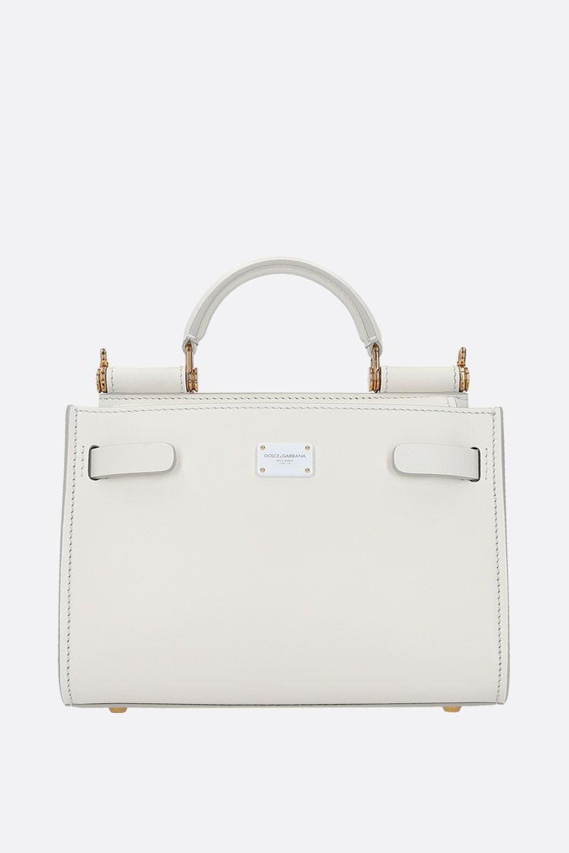 DOLCE & GABBANA: Sicily 62 mini smooth leather top handle bag Color White_1