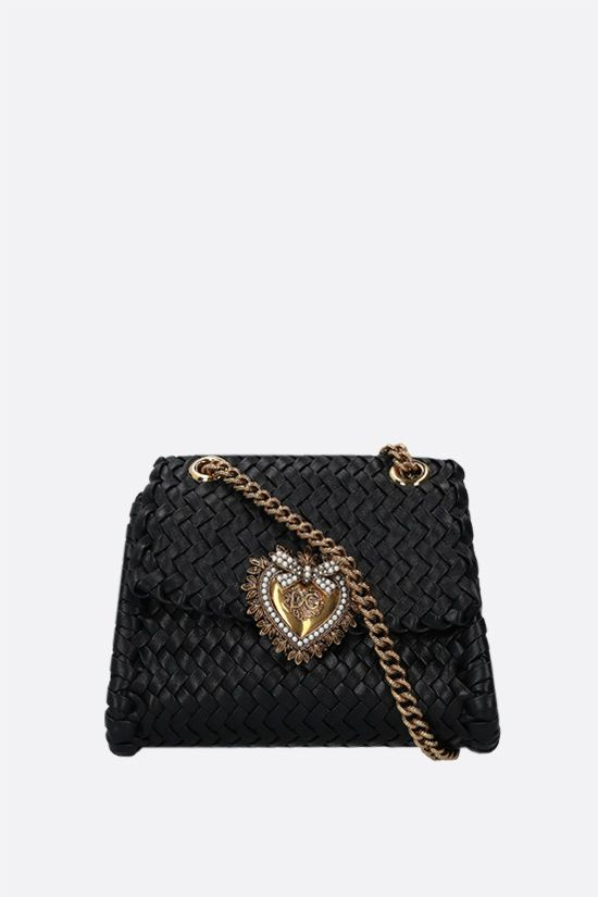 DOLCE & GABBANA: Devotion small woven nappa shoulder bag Color Black_1
