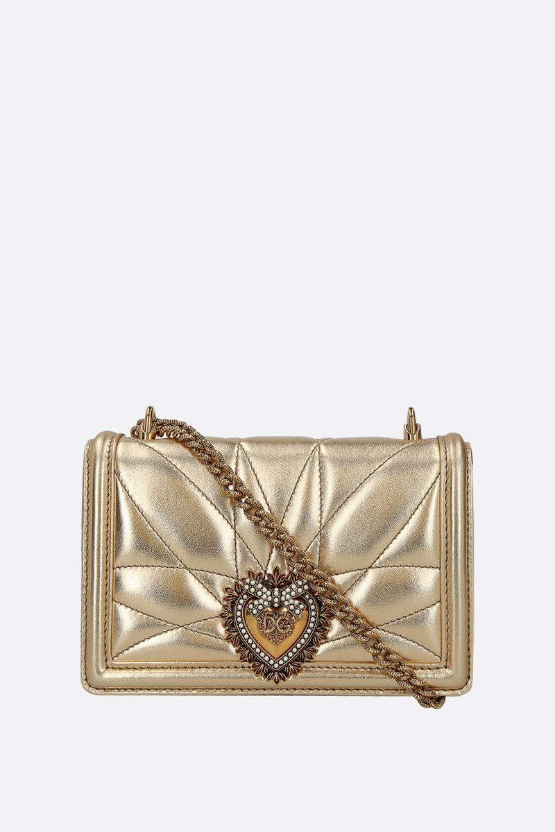 DOLCE & GABBANA: Devotion mini quilted nappa shoulder bag Color Gold_1