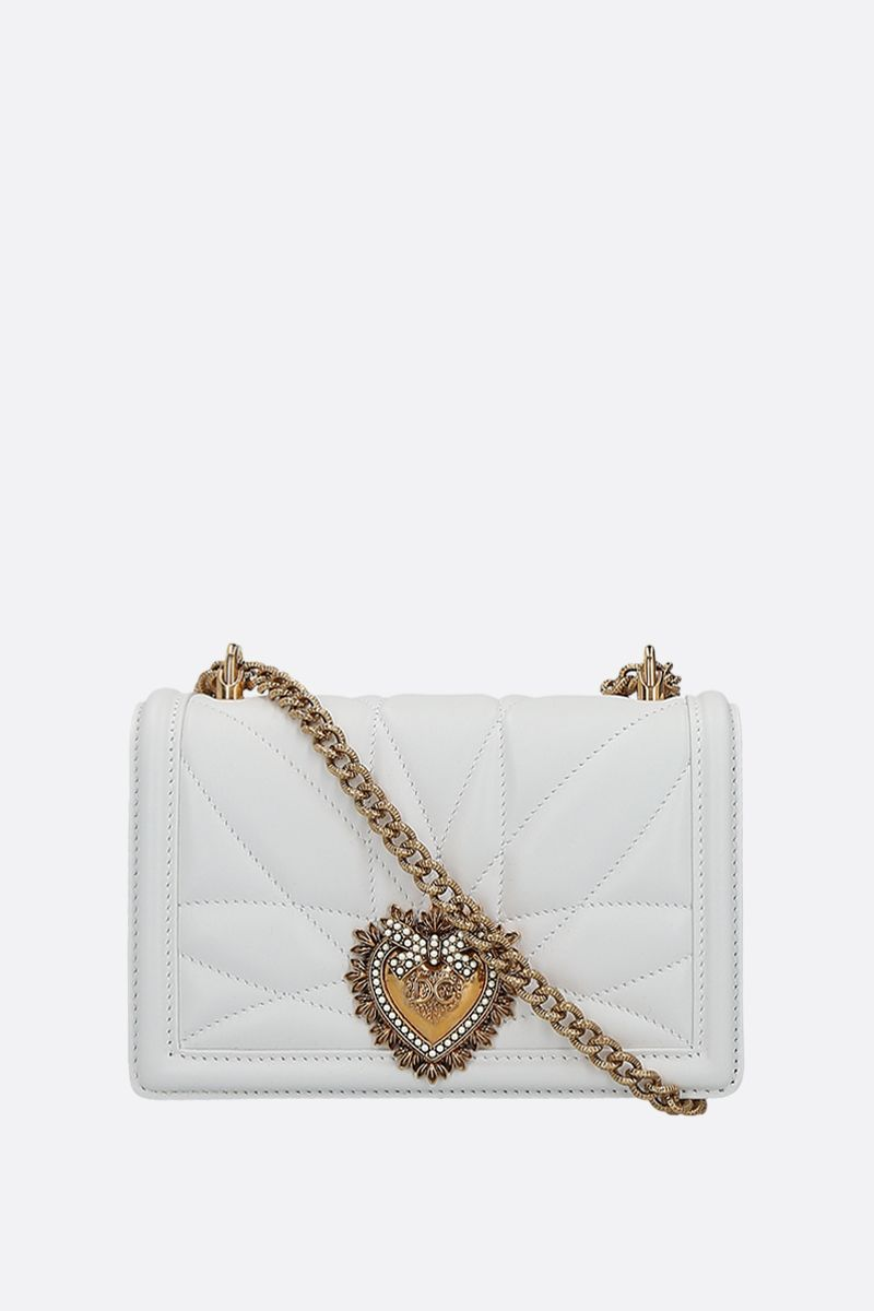 DOLCE & GABBANA: Devotion mini quilted nappa shoulder bag Color White_1