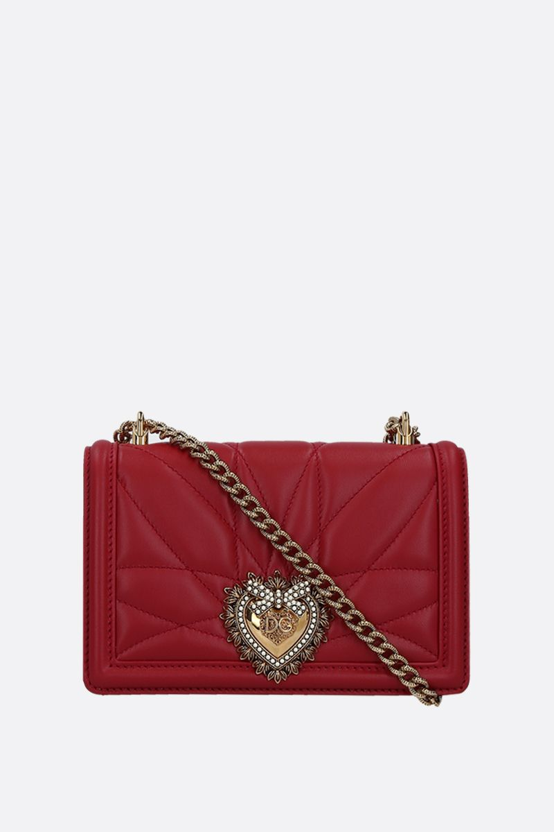 DOLCE & GABBANA: Devotion mini quilted nappa shoulder bag Color Red_1