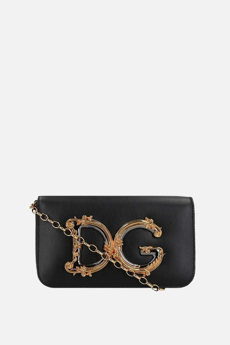 DOLCE & GABBANA: DG Girls smooth leather crossbody bag Color Black_1