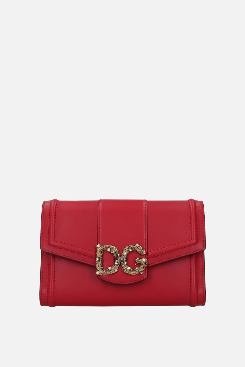 DOLCE & GABBANA: DG Amore smooth leather strap wallet Color Red_1