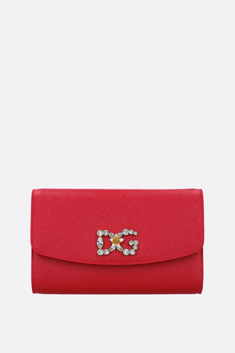 DOLCE & GABBANA: Dauphine leather chain wallet Color Red_1
