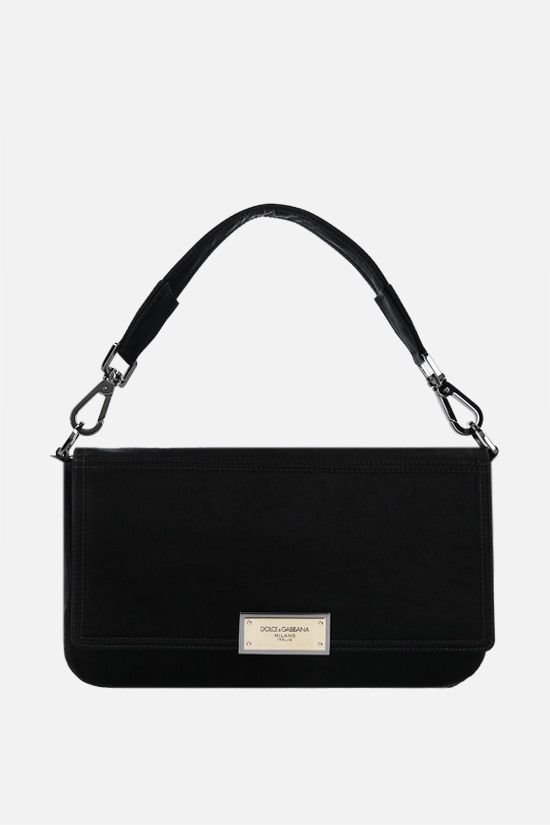 DOLCE & GABBANA: Nero Sicilia DNA shiny nylon crossbody bag Color Black_1