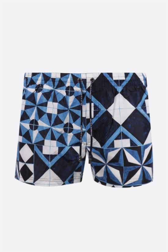 DOLCE & GABBANA: Majolica print nylon swim shorts Color Blue_1