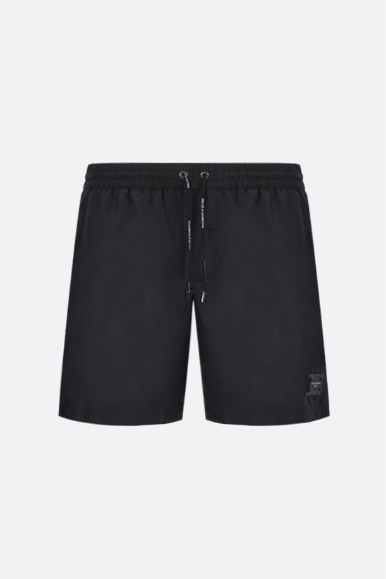 DOLCE & GABBANA: logo-detailed nylon swim shorts Color Black_1
